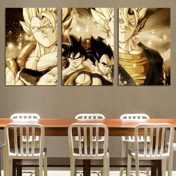 DBZ Super Saiyan Vegeto Gogeta Vintage 3pc Wall Art Decor Canvas Prints