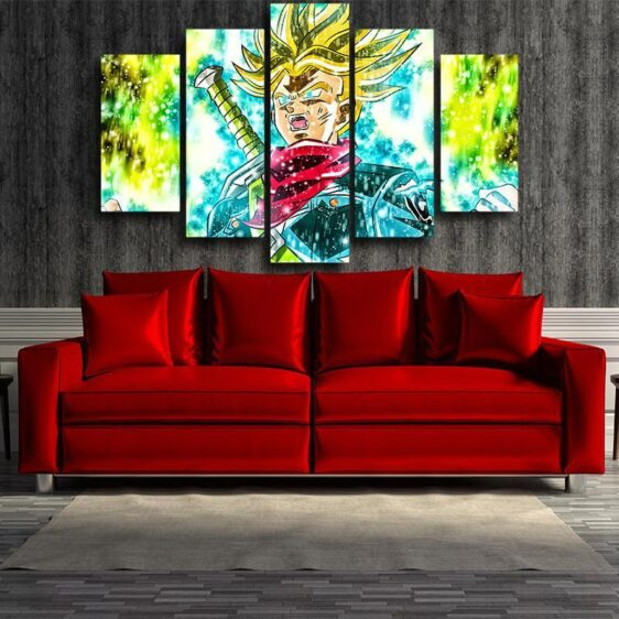DBZ Trunks Super Saiyan Transformation Painting 5pc Canvas Prints Wall Art