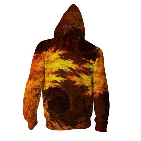 DBZ Twin Goku Super Angry In Fire Artificial Print Design Zip Up Hoodie