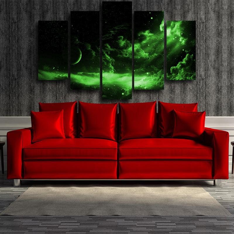 Dragon Ball Z Green Light Universe 5 panel Canvas Print