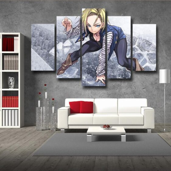 Dragon Ball Android 18 Anime Style 5pc Wall Art Decor Posters Canvas Prints