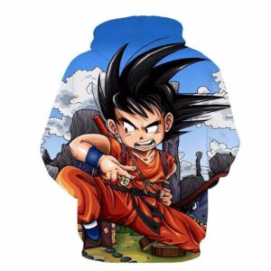 Dragon Ball Anime Angry Kid Goku Sky Clouds Blue 3D Hoodie - Saiyan Stuff - 2