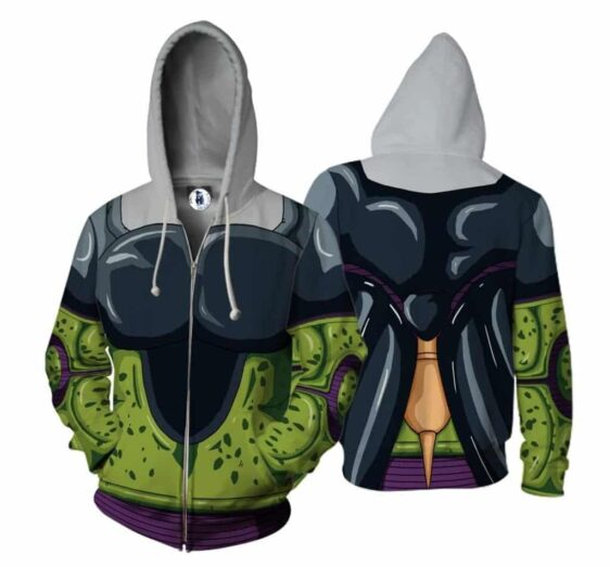 Dragon Ball Cell Skin Green Zip Up Cosplay 3D Hoodie
