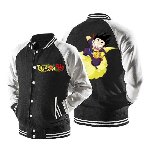 Dragon Ball Cute Kid Goku Flying Baseball Varsity Jacket