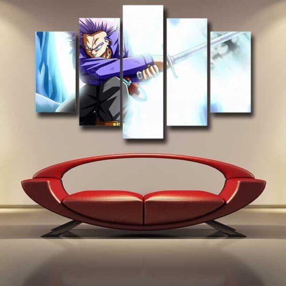 Dragon Ball Future Trunks Fight Sword 5pc Wall Art Decor Posters Canvas Prints