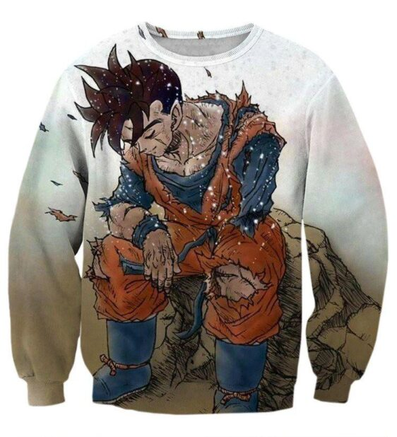 Dragon Ball Gohan Exhausted Sad Simple Design Vintage Streetwear Sweatshirt