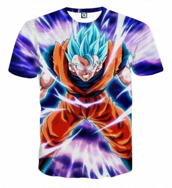 Dragon Ball Goku Blue Super Saiyan Epic Rage Casual T-Shirt