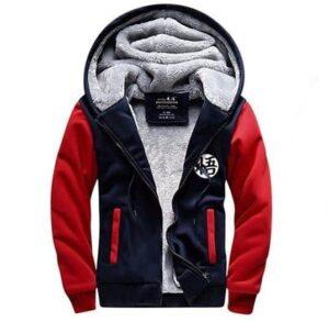 Dragon Ball Goku Cosplay Go Symbol Zipper Red Navy Hooded Jacket - Saiyan Stuff - 1