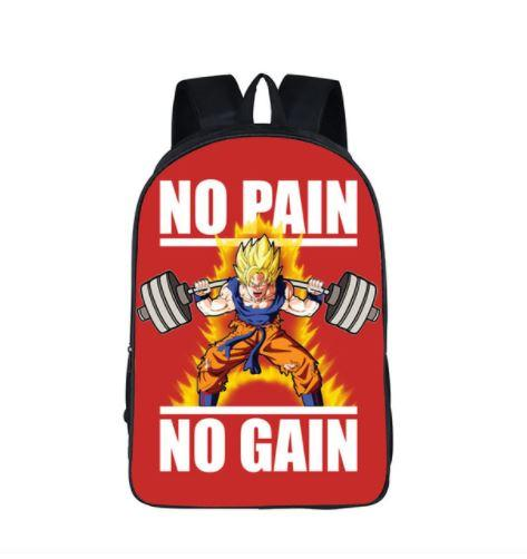 Dragon Ball Goku Motivation Quote Workout School Backpack Bag
