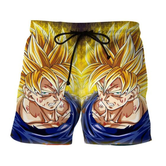 Dragon Ball Goku Super Saiyan Damage Fight Reflection Style Shorts