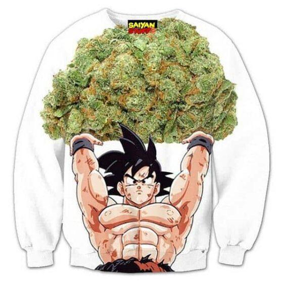 Dragon Ball Goku Weed Marijuana Spirit Bomb Crewneck Sweatshirt - Saiyan Stuff
