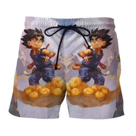 Dragon Ball Kid Goku Flying Nimbus Fan Art Style Cool Summer Shorts