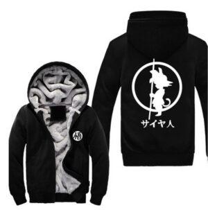 Dragon Ball Kid Goku Kanji Weapon Go Symbol All Black Hooded Jacket - Saiyan Stuff
