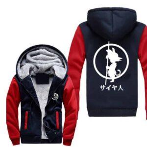Dragon Ball Kid Goku Kanji Weapon Go Symbol Navy Red Hooded Jacket - Saiyan Stuff