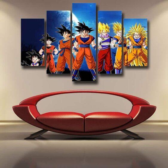 Dragon Ball Kid Goku To Super Saiyan Illustration Design 5pc Canvas Prints