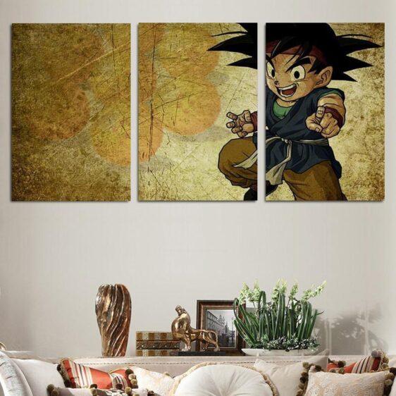 Dragon Ball Kid Goku Vintage Color Theme 3pc Wall Art Decor Canvas Prints