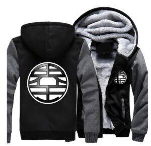 Dragon Ball King Kai Kanji Symbol Grey Black Zipper Hooded Jacket - Saiyan Stuff