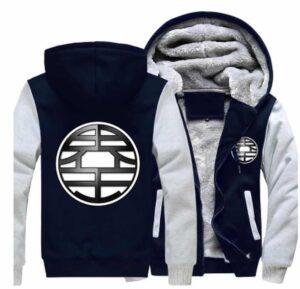 Dragon Ball King Kai Kanji Symbol Grey Navy Zipper Hooded Jacket - Saiyan Stuff