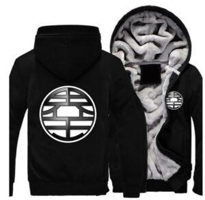 Dragon Ball King Kai Kanji Symbol Mandarin All Black Zipper Hooded Jacket - Saiyan Stuff