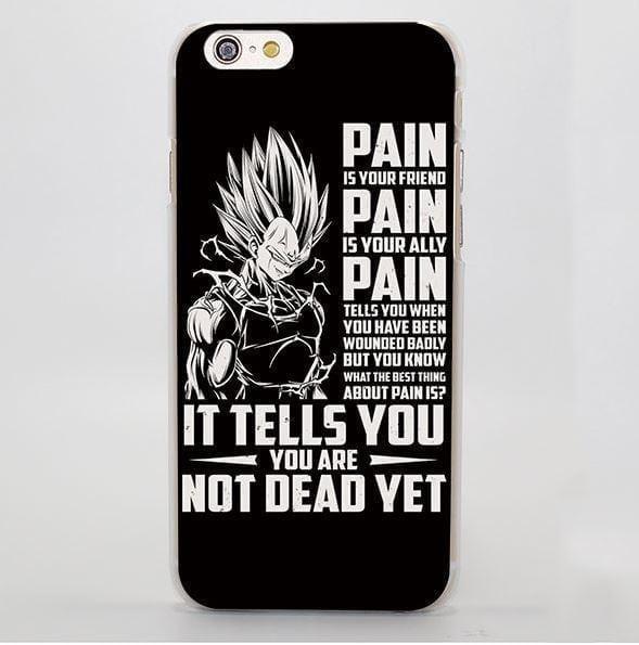 Dragon Ball Majin Vegeta Pain Motivation Quotes iPhone 4 5 6 7 Plus Case