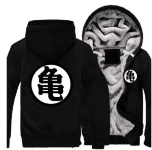 Dragon Ball Master Roshi Kanji Symbol All Black Zipper Hooded Jacket - Saiyan Stuff