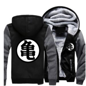 Dragon Ball Master Roshi Kanji Symbol Grey Black Zipper Hooded Jacket - Saiyan Stuff