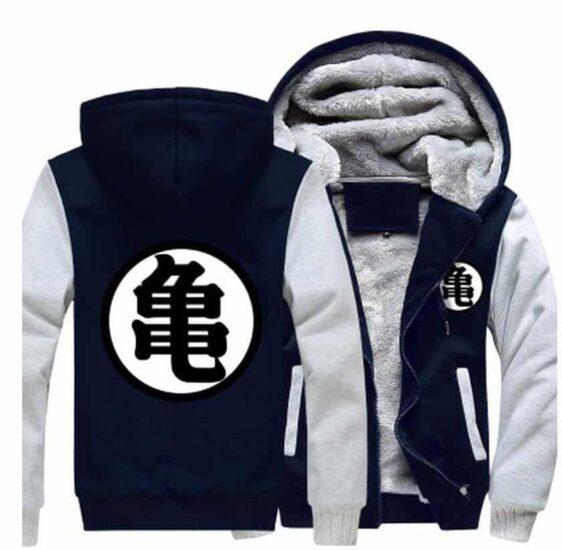 Dragon Ball Master Roshi Kanji Symbol Grey Navy Zipper Hooded Jacket - Saiyan Stuff