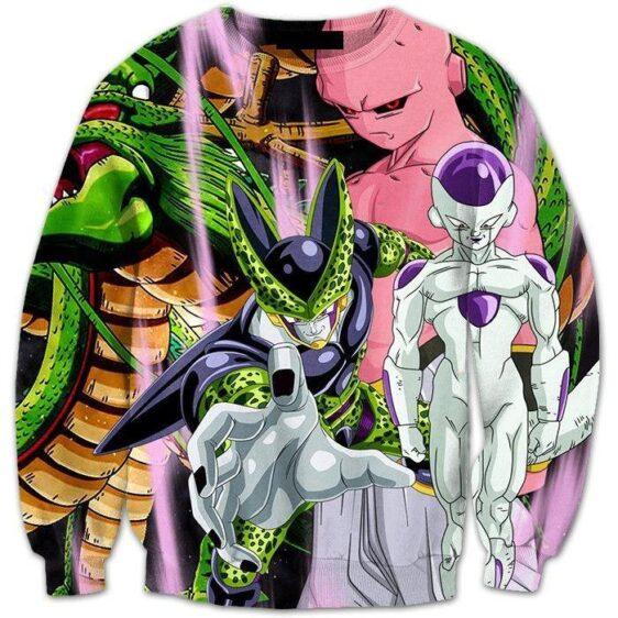 Dragon Ball Shenron and the Villains Cell Buu Frieza Dope 3D Sweatshirt - Saiyan Stuff