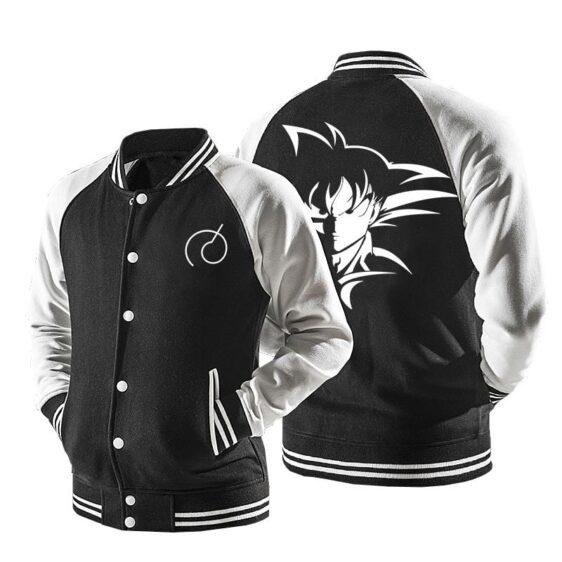 Dragon Ball Son Goku Black And White Baseball Varsity Jacket