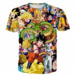 Dragon Ball Super Characters Heroes Goku Shenron Graphic 3D T- Shirt - Saiyan Stuff