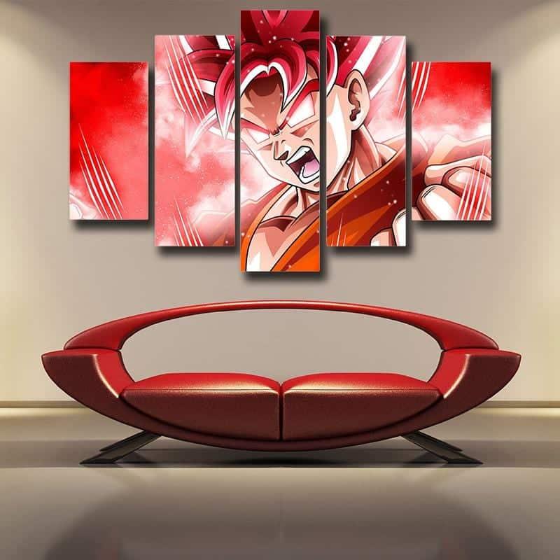 Son Goku Super Transformation Super Saiyan God 5 panel Canvas Print