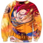 Super Saiyan God 2 Goku SSJG2 Red Hair Fantastic 3D HD Sweater - Saiyan Stuff