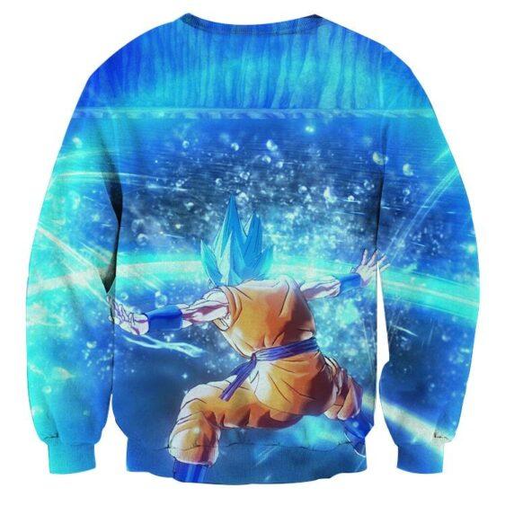 Dragon Ball Super Saiyan Goku Blue Kiai Blast Dope Sweater