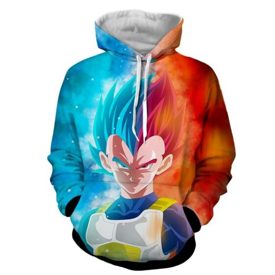 Dragon Ball Super Saiyan Serious Vegeta Blue Red Cool Hoodie