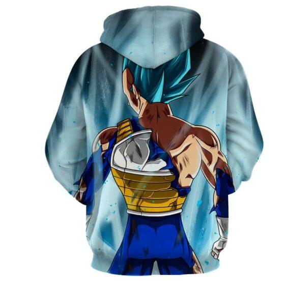 Dragon Ball Vegeta Blue Super Saiyan Epic Back View Hoodie