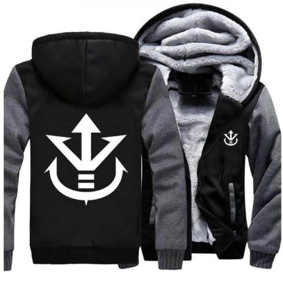 Dragon Ball Vegeta Saiyan Royal Crest Gray Black Zipper Hooded Jacket - Saiyan Stuff