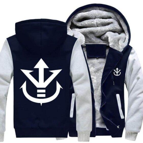 Dragon Ball Vegeta Saiyan Royal Crest White Navy Zipper Hooded Jacket - Saiyan Stuff