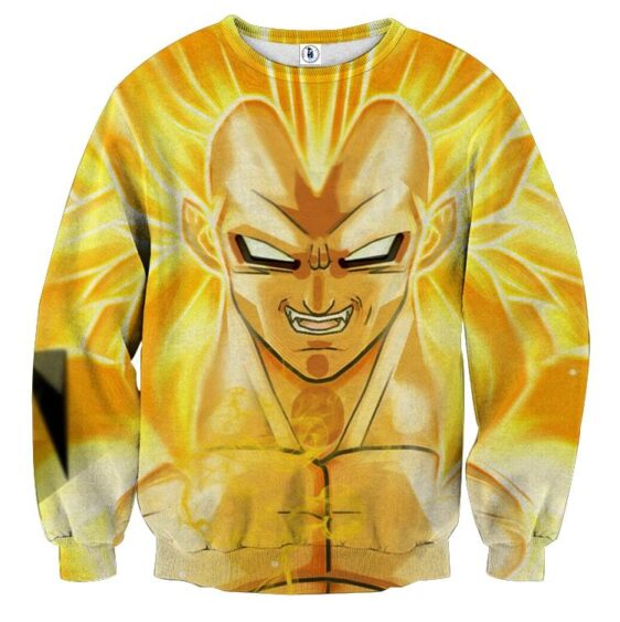 Dragon Ball Vegeta Super Saiyan 3 Cool Close Up Yellow Sweater