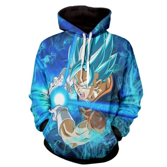 Dragon Ball Vegito 2 Blue Super Saiyan Kamehameha Hoodie