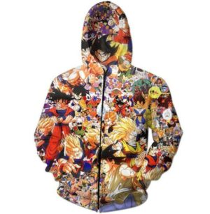 Dragon Ball Z Anime Manga Characters Full Print Hoodie - Saiyan Stuff