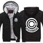 Dragon Ball Z Capsule Corp Black Stylish Zip Up Hooded Jacket