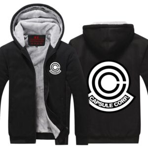 Dragon Ball Z Capsule Corp Black Stylish Zip Up Hooded Jacket