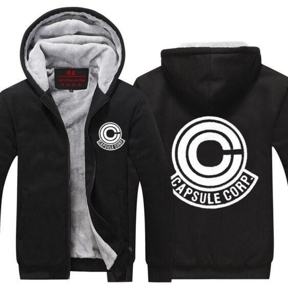 Dragon Ball Z Capsule Corp Logo Black Zip Up Hooded Jacket