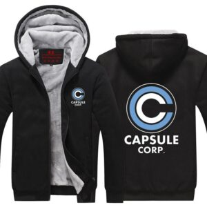 Dragon Ball Z Capsule Corporation Black Zip Up Hooded Jacket