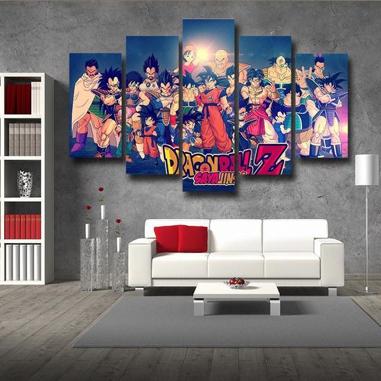Dragon Ball Z Family Saiyanjins Warriors Classic 5pc Canvas Prints Wall Art