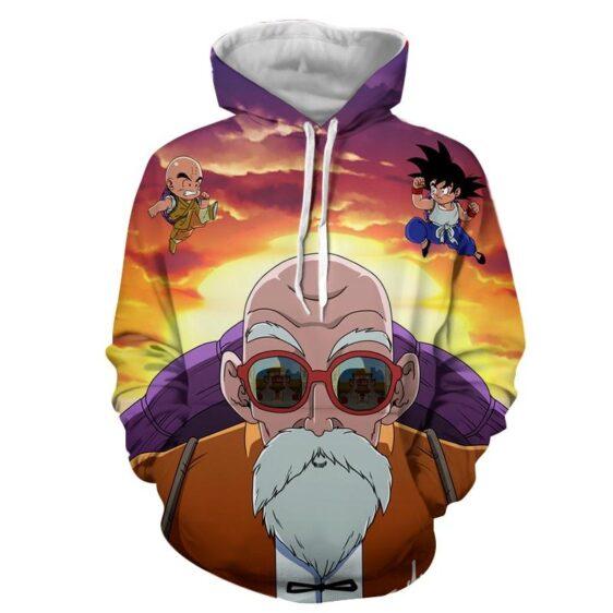 Dragon Ball Z Master Roshi Krillin Kid Goku Training Hoodie
