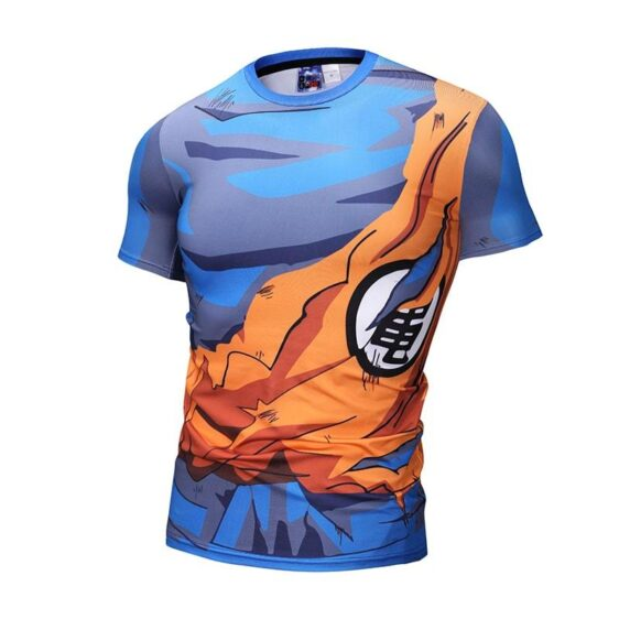 Dragon Ball Z Son Goku Kanji Symbol Torn Up Bruised Compression T-Shirt