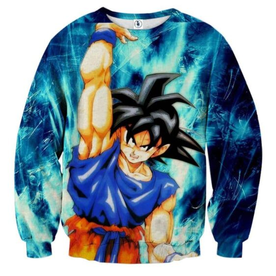Dragon Ball Z Super Saiyan Son Goku Cool Blue Aura Sweater