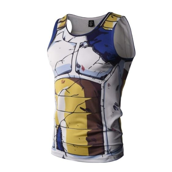 Dragon Ball Z Vegeta Cell Saga Damaged Saiyan Armor Compression Tank Top