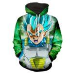 Dragon Ball Z Vegeta God Form In Blue Hair Green Hoodie